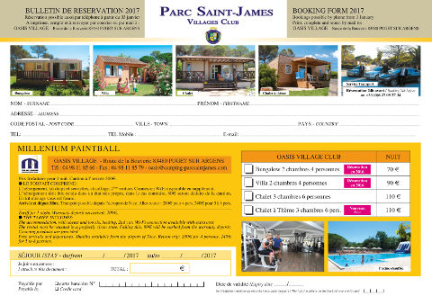 Parc Saint-James Oasis Village Booking Form