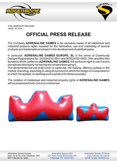 Press Release Adrenaline Games