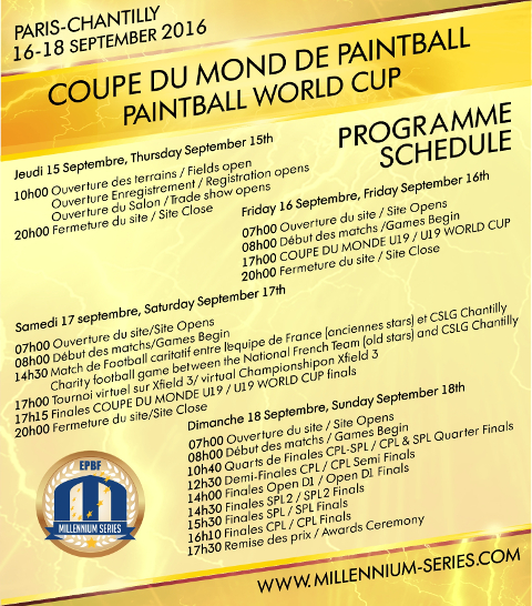 The planned schedule for World Championship 2016 in Chantilly: