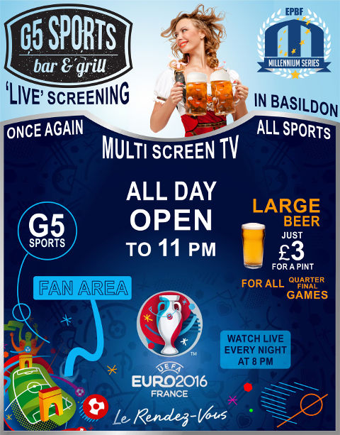 G5 Sports bar & grill at Campaign Cup in Basildon