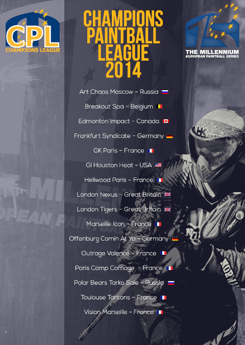 Champions Paintball League Teams 2014
