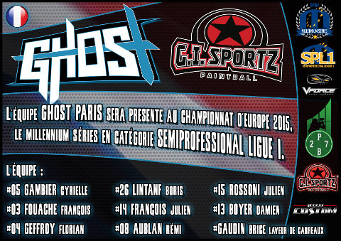 Ghost Paris to play Semiprofessional Paintball League 1 in season 2015