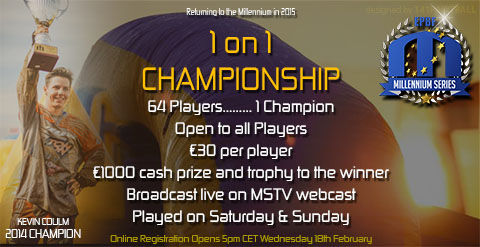 1 on 1 Championship online registration opens 5PM CET Wednesday, the 18th of February